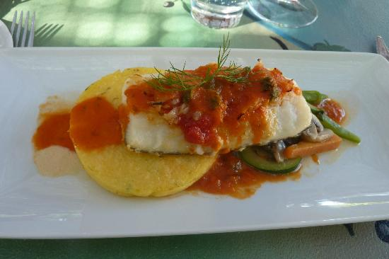 Restaurante Aquarelle : Fresh cod with tomato sauce on polenta