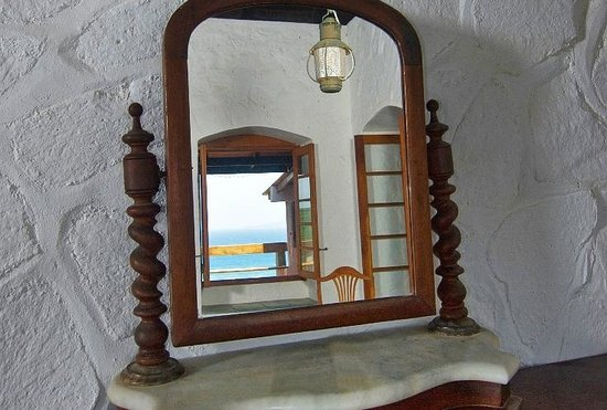 Sugar Reef Bequia : Master Suite View Reflected in Antique Mirror at French House, Sugar Reef