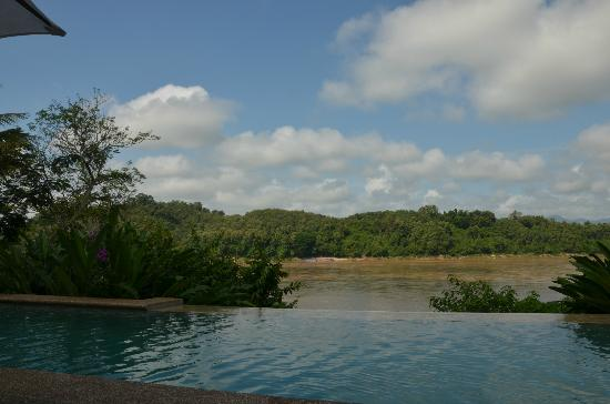 Mekong Estate: View across the river from the pool