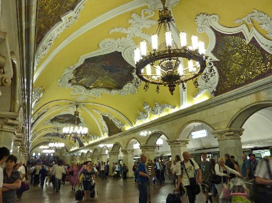 Moscow Metro: Chandeliers and bright yellow detailing at this stop