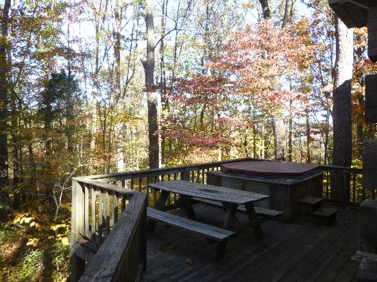 Top of Townsend: Picnic table and hot tub on the deck