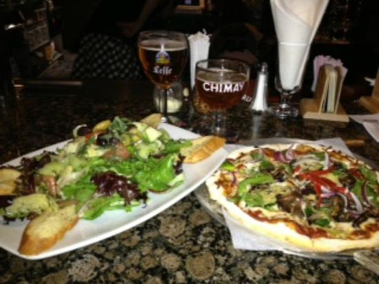 The Globe - Belgian GastroPub: Artichoke and Heirloom Tomato salad with Roasted Veggie Pizza, and a flight of Belgium beers!