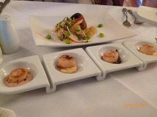 Highden Manor Estate: Entrees - Scallops - 4 ways and Comfit of Duck