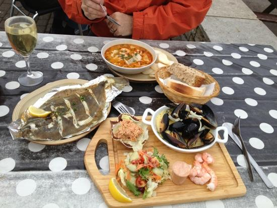 West Bay, UK: seafood laksa & platter for ONE!