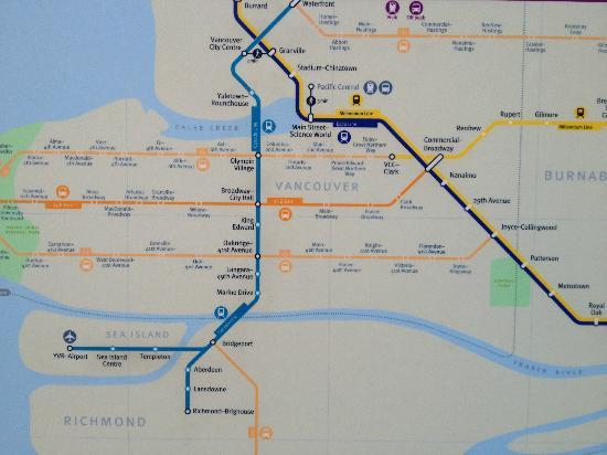 Map to Downtown - Picture of SkyTrain, Vancouver - TripAdvisor Downtown Vancouver Hotels Map on