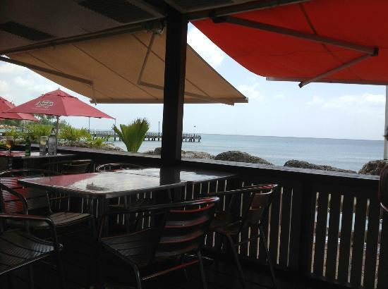 Orange Street Grocer: The view old the old Speightstown Pier from their verandah