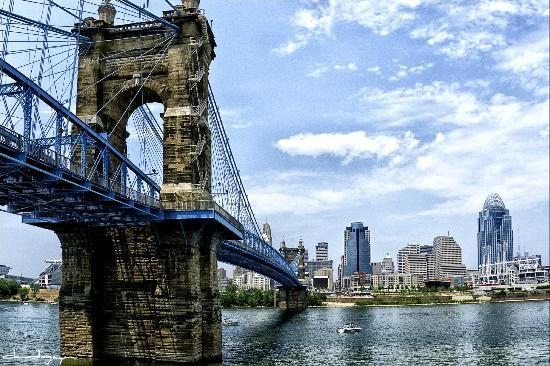 Roebling Bridge over Ohio River Cincinnati OH Picture
