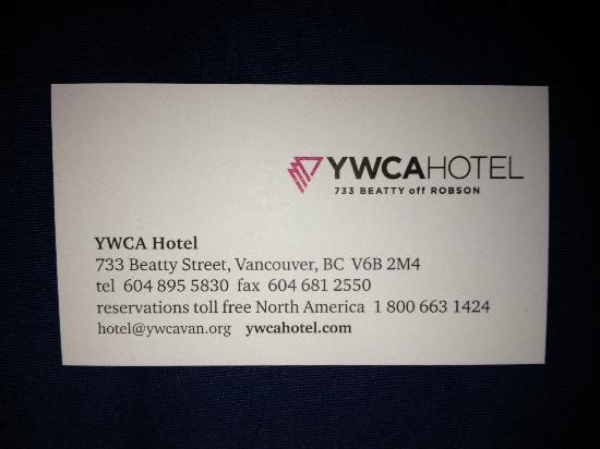 YWCA Hotel Vancouver: Business Card