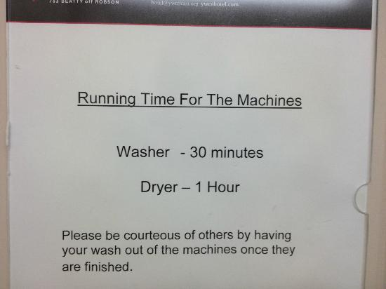 YWCA Hotel Vancouver: Running Times for Washers and Dryers