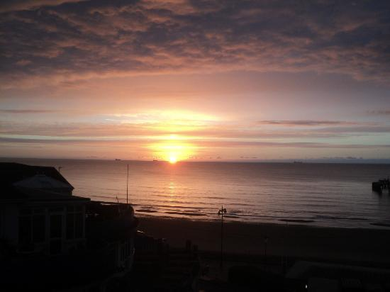 View from the room at the Royal Pier Hotel, Sandown, of an autumn sunrise