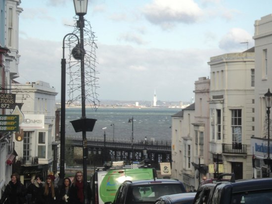 Ryde Harbour: Ryde High Street - with a view to the Spinnaker Tower in Portsmouth in the far distance.