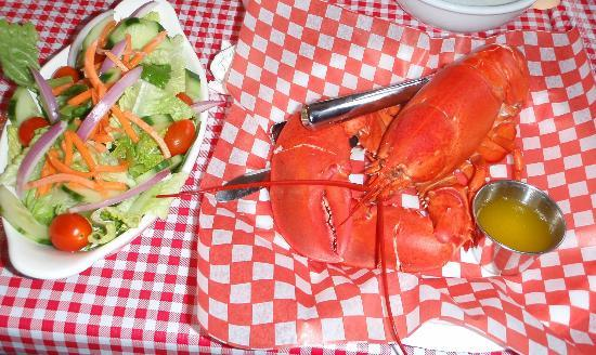 Lobster and salad at the Caves Restaurant in St. Martins