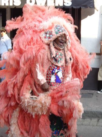 Bourbon Street: A Guy dressed up.