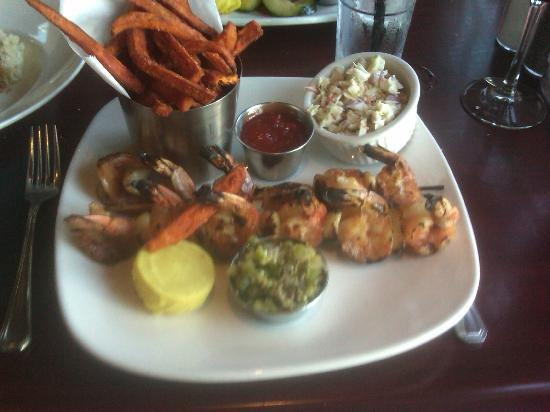 ROCK'N FISH - Laguna Beach: Rock'n Fish's Shrimp and Garlic Brochette with French Fried Sweet Potatoes and Cole Slaw