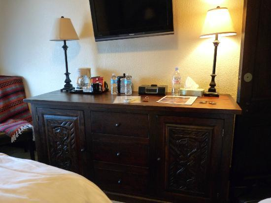 "Holland Hotel : Large ""dresser"" housing mini-fridge and microwave as well as 3 drawers for storage."