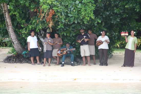 Matangi Private Island Resort: Arrival- Staff sings.