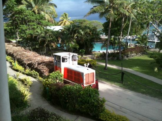 Anchorage Beach Resort: Cane train the comes right throught the resort - Very exciting