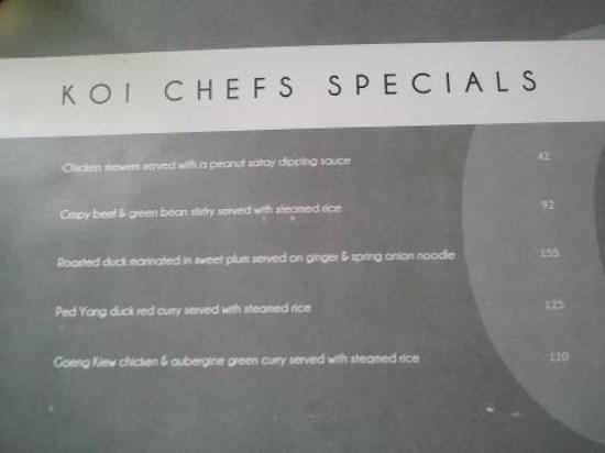 Koi: Current Chef's specials