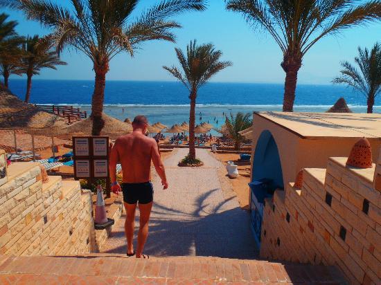 Nubian Village Hotel: вид с нижнего бассейна на море