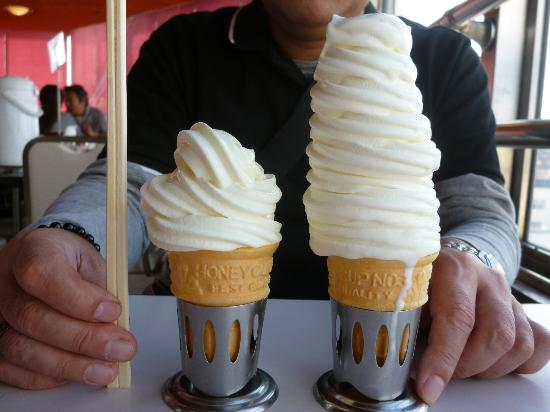 Marukan Building Daishokudo: ソフトクリームは標準が割り箸ほどの高さ。ミニソフトは一般のソフトよりは小さいかな。
