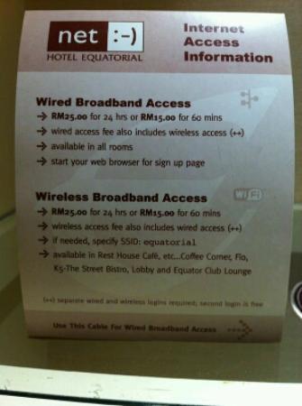 Hotel Equatorial Melaka: Hotel's Wifi Service