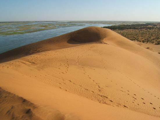 ‪‪Gao‬, مالي: La Dune Rose, the Niger river and Gao on the other side