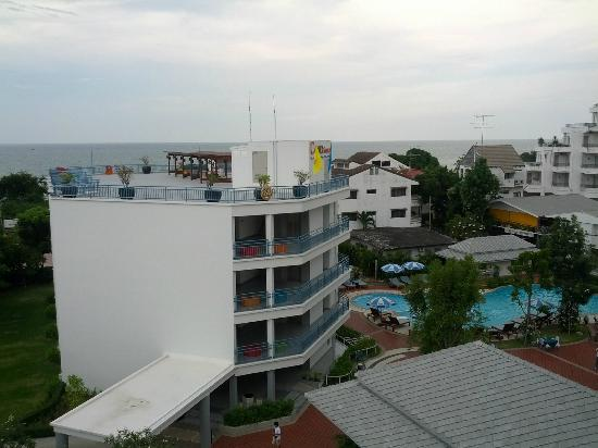 Cera Resort Chaam: Picture from top of tower building, ocean in background