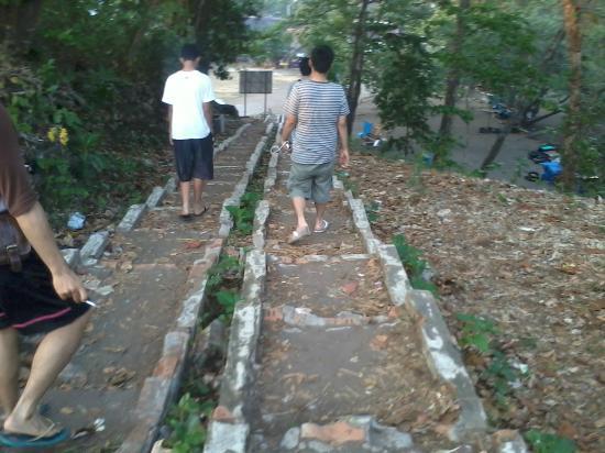 Villa Monyet Java: tangga menuju bukit di pantai batu karas