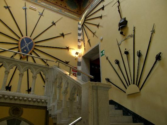 Castello d'Albertis: weapons displayed along the stairway