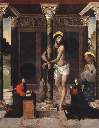 Museo de Bellas Artes de Córdoba: Alejo Fernández - Cristo flaquelado con San Pedro y donantes