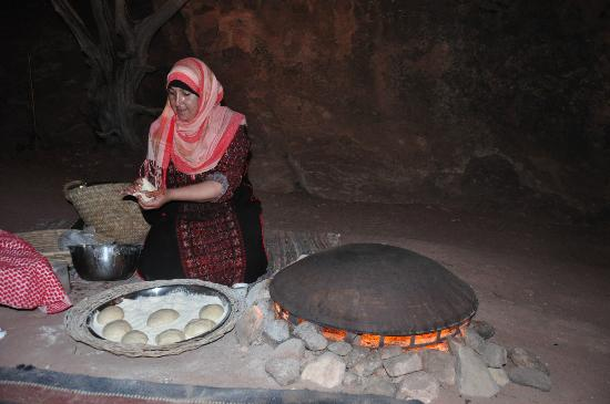 The Rock Camp - Petra: baking bread