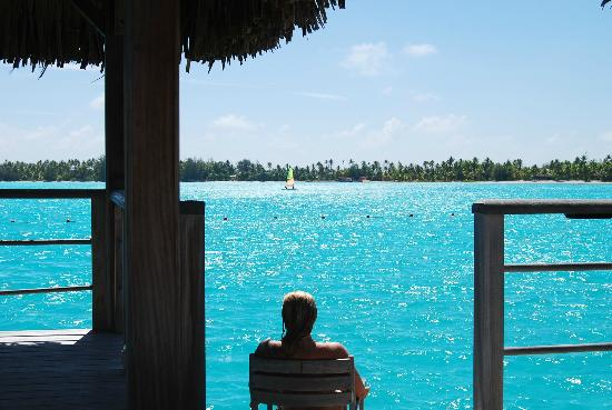 The St. Regis Bora Bora Resort: Sitting after a daily swim off our deck