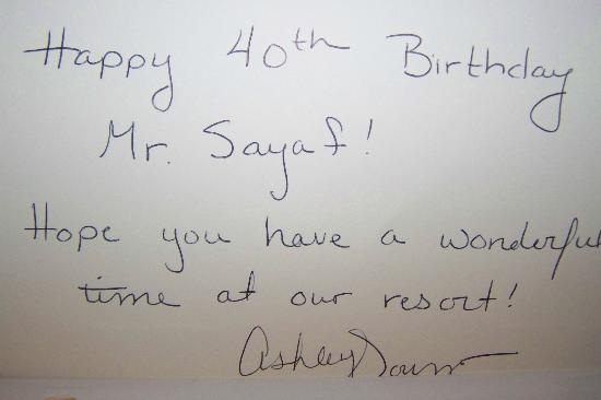 World Golf Village Renaissance St. Augustine Resort: Handwritten B-day Card!!