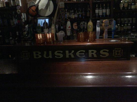 Busker's bar and the tap beer selection.