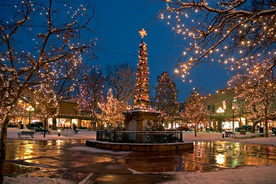 Santa Fe Plaza during Christmas