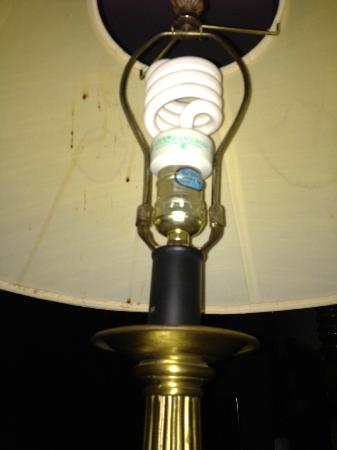 Rodeway Inn: Bed lamp and shade, brown drops in upper left behind bulb and on lower rim