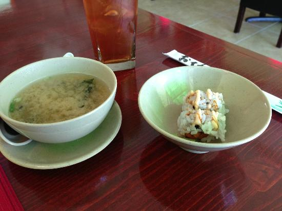 Complementary miso soup and California roll, Thai Fuku, Cocoa Beach