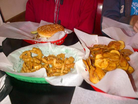 Pok-E-Joe's: Excellent burger, fries, onion rings, what else do you need?