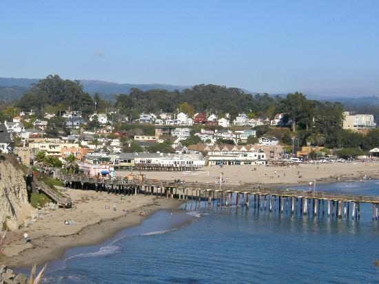 Capitola City Beach: View of Capitola Beach & wharf from the upper cliffs