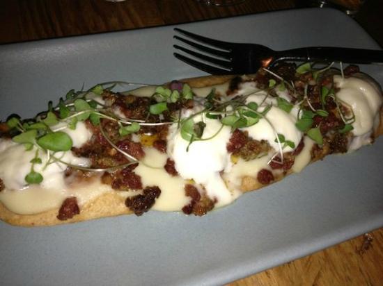 Rich Table : burrata on flat break with pan seared panchetta