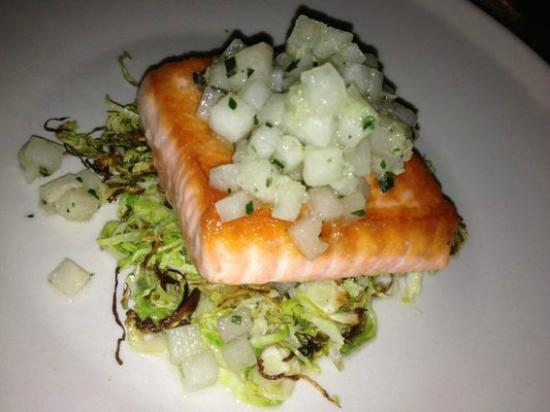 Rich Table : Salmon - perfectly cooked and served w/ delicious brussel sprouts