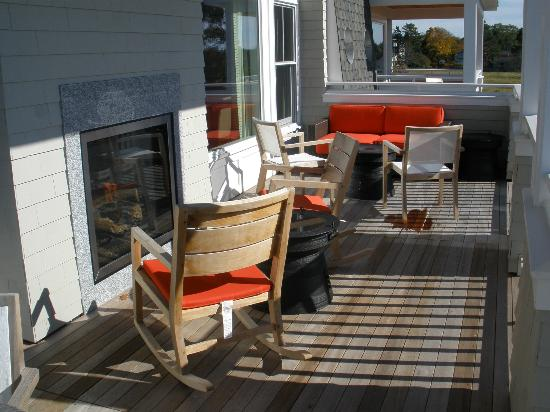 Inn by the Sea: Deck on the new spa suites--with indoor/outdoor fireplace