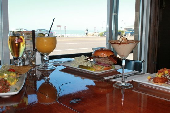 Cardiff Beach Bar At Tower 13: view of beach and lunch and a mango Marg