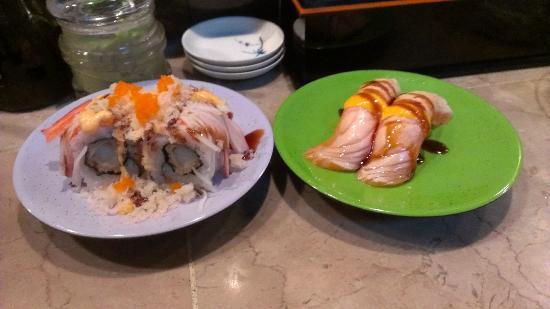 Sushi Sakura: Shrimp Tempura roll and Seared Salmon delicious!