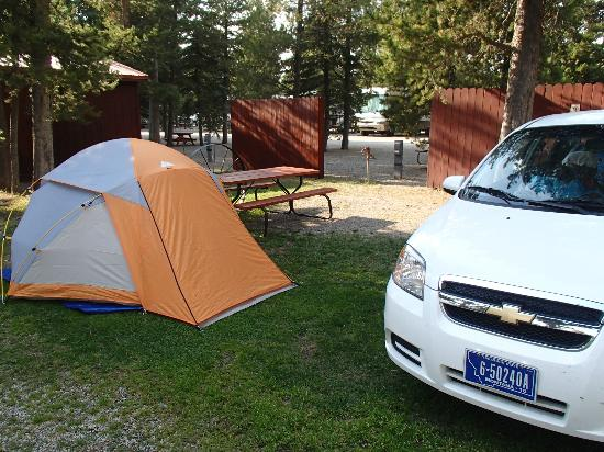 Rustic Wagon RV Campground & Cabins: My rental car and tent