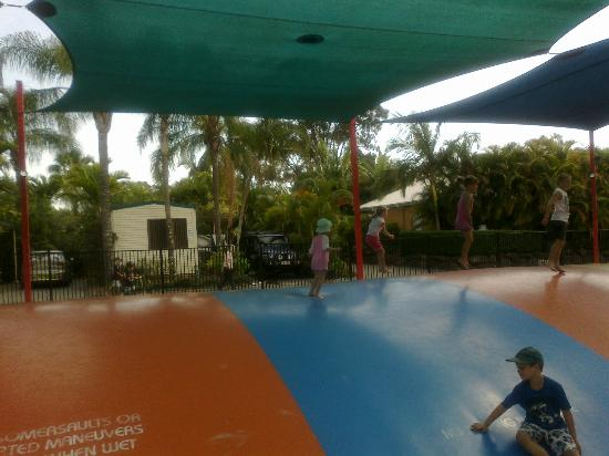 NRMA Treasure Island Holiday Park: Jumping pillow that you can watch the kids play from the Bistro balcony