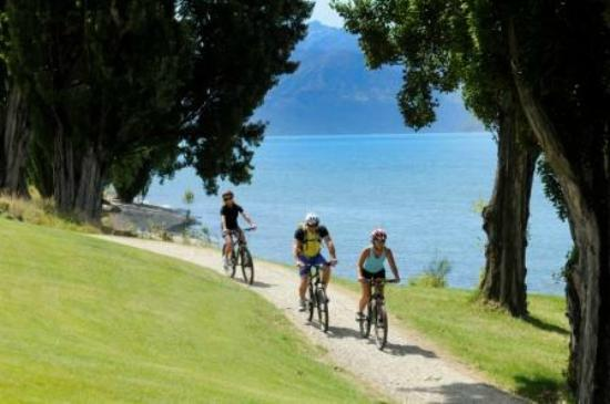 Mountain biking along the cycleway at the front of Edgewater