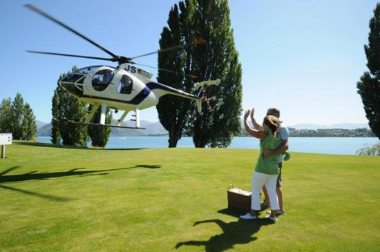 Arriving by chopper on Edgewater's heli-pad