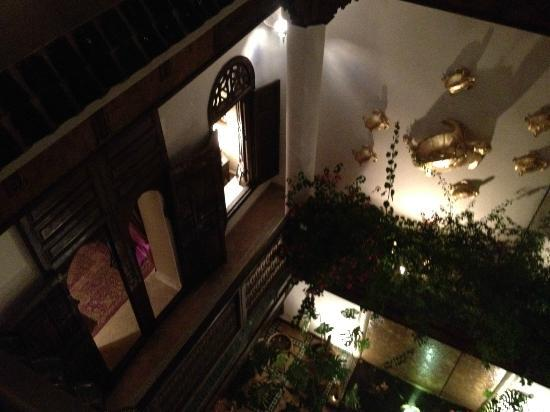 Riad 41: Looking down again from the roof terrace toward the courtyard, and the door to my 1st floor suit