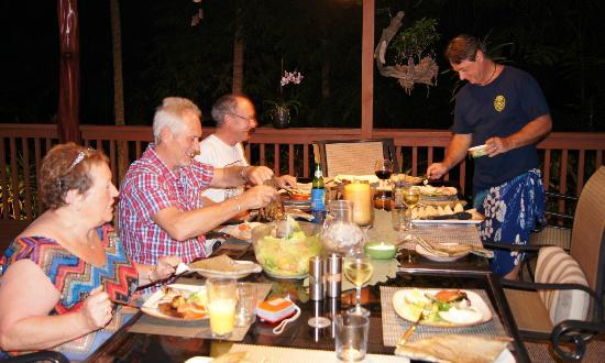 Honu Kai B&B: having great dinner